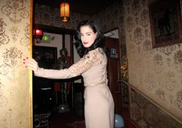 Dita von Teese at a Christmas party hosted by Rodarte and Kirsten…