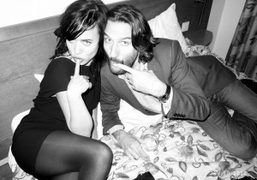 The French writer Frédéric Beigbeder and a friend at Le Montana, Paris….