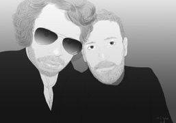 Olivier Zahm and Stefano Pilati at Le Montana, Paris. A drawing by…