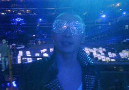 Terence Koh wearing Elton John's Armani Privé glasses during Lady Gaga and…