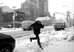 Terry Richardson in the snow, Bowery, New York. Photo Olivier Zahm
