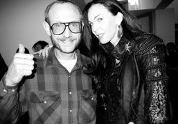 Terry Richardson and L'Wren Scott at her F/W 2010 collection presentation, New…