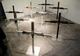 Nate Lowman sculptures in the New Museum booth at the opening of…