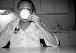 Terence Koh drinking vodka at his studio, Canal Street, New York. Photo…