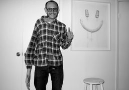 Terry Richardson in front of his Aurel Schmidt drawing at his studio,…