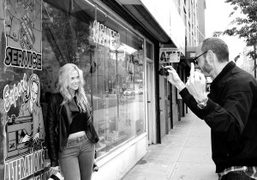 Terry Richardson taking a picture of Byrdie Bell on Houston Street, New…