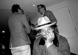 """Aron """"the downtown Don"""" Bondaroff at Hanna Liden's dinner after her opening,…"""