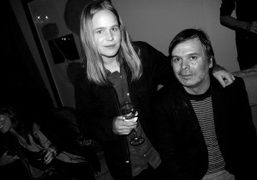 hanna Liden and rob pruitt at Hanna Liden's dinner after her opening,…