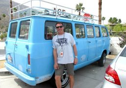 Andre Balazs using an old van at the Ace Hotel in Palm…