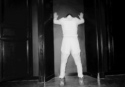 My friend Stefano Pilati dressed in white, visiting my new apartment to…