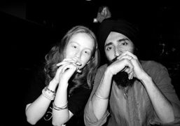 India and Waris Ahluwalia having dinner at Omen, New York. Photo Olivier…