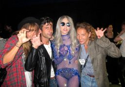 Sara Nataf, André Saraiva, and Jen Eymere with Lady Gaga after her…