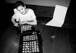 Marlene Marino selecting her pictures for Purple Fashion magazine #14 at the…