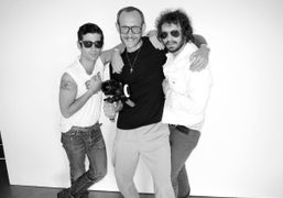 Andre Saraiva, Terry Richardson, and Olivier Zahm on a shoot for the…
