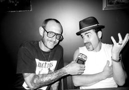 Terry Richardson and Justin Theroux with my voice recorder at The Smile,…