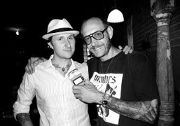 Scott Campbell and Terry Richardson with my voice recorder at The Smile,…