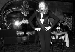 Arielle Dombasle after her performance of a Klaus Nomi song wearing her…