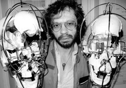 Olivier Zahm between two skull lamps designed by Vincent Darré, Purple Institute,…