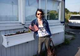 Olivier Zahm waiting for the ferry to Fire Island. Photo Dawn Goldworm