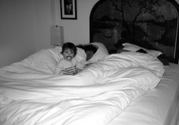 Henrietta in bed with Olympia Le Tan and Andre Saraiva, Hotel Amour,…