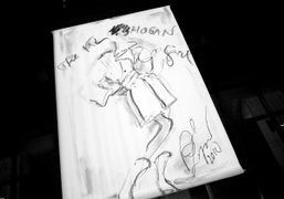An illustration by Karl Lagerfeld at the Hogan by Karl Lagerfeld launch…