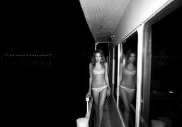 Alice wearing Yasmine Eslami new lingerie collection on a houseboat, Paris. Photo…