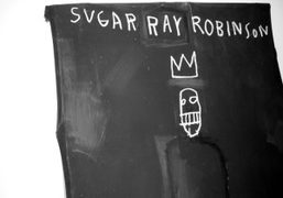 Untitled Sugar Ray Robinson, a work by Jean-Michel Basquiat at his retrospective…