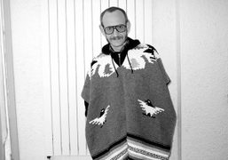 Terry Richardson wearing his new poncho at Purple Institute, Paris. Photo Olivier…