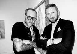 Terry Richardson and the designer of YSL Stefano Pilati at John Currin's…