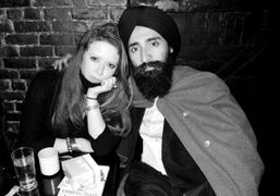 The American actress Natasha Lionne and Waris Ahluwalia at his birthday dinner,…