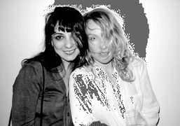 Lizzi Bougatsos and Rita Ackermann at the opening of Shadow Fux, a…