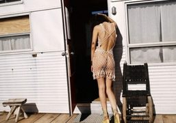 Pamela Love in front of her mobile-home, Marfa. Photo Skye Parrott