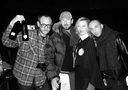 Terry Richardson, Stefano Pilati, Kim Avella, and Philippe Contini backstage at the…