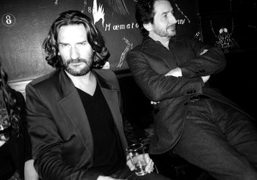 French night owls Frederic Beigbeder (writer) and Edouard Baer (comedian) at Le…