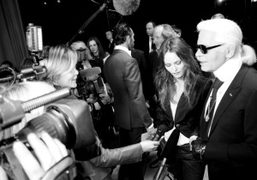 Karl Lagerfeld and Vanessa Paradis backstage at the Chanel S/S 2011 Haute…