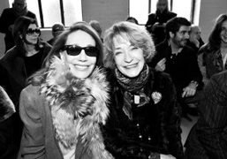 Fashion icons Marisa Berenson and Loulou de la Falaise in the front…