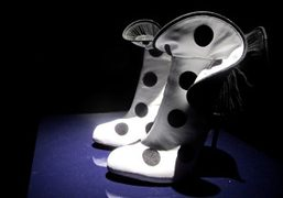 A pair of beautiful polka dot ankle boots at the Sergio Rossi…