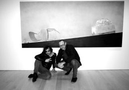Olivier Zahm and Terry Richardson at Ed Ruscha's show Psycho Spaghetti Westerns,…