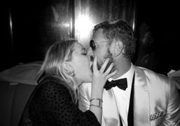 Mary-Kate Olsen kissing Stefano Pilati at the YSL afterparty for the Met…