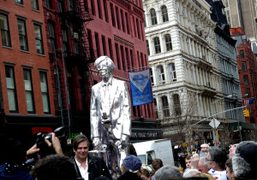 Rob Pruitt front of his Warhol's Statue outside of what used to…