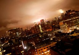 A view of New York under the storm from The Standard Hotel….