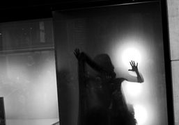 Daphne Guinness changing into her Alexander McQueen gown in the Barney's window…