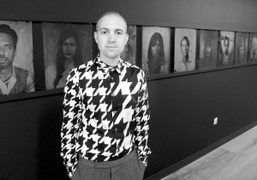 "Walter Hugo at his exhibition ""We Are An Island"" at the Paul Smith store on Albemarle Street, London. Photo…"
