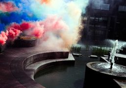 """Olaf Breuning's smoke installation at """"Station to Station: A 30 Day Happening""""..."""
