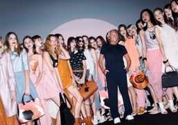 Giorgio Armani at the finale of his Emporio Armani S/S 2016 show,...