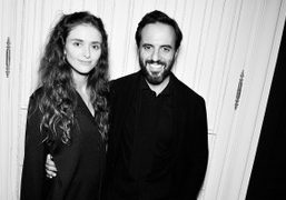Designer and host of the night Barbara Casasola with founder of Farfetch...