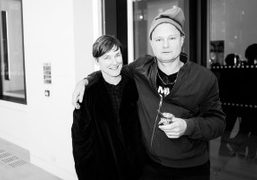 Juergen Teller and his wife Sadie Coles at the private view of...
