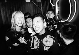 G-Dragon and friends at the Balmain after-party at Carmen, Paris.