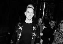 Designer Jeremy Scott after his Moschino fall-winter 2016 men's show at One...