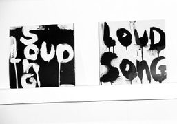 A collaborative piece by Richard Prince and Kim Gordon at the Printed...
